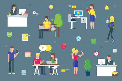 Teamwork and social network concept for web and infographic. Flat style vector illustration
