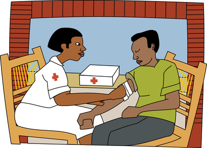 Young black professional nurse attending to injury